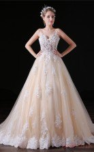 A-line Straps Sleeveless Pearl Pink Lace Tulle Satin Prom Dresses(JT-4A032)