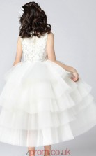 Princess High Neck Sleeveless Ivory Organza Ankle-length Children's Prom Dress(AHC015)