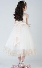 Princess Jewel Sleeveless Ivory Tulle Chiffon Tea-length Children's Prom Dress(AHC017)