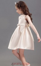 A-line Jewel Sleeveless Champange Satin Mini Children's Prom Dress(AHC019)