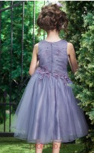 Princess Jewel Sleeveless Purple Organza Tea-length Children's Prom Dress(AHC024)