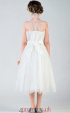A-line Jewel Sleeveless Ivory Tulle Knee-length Children's Prom Dress(AHC028)