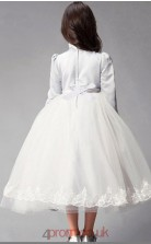 Princess High Neck 3/4 Length Sleeve White Satin Chiffon Tulle Tea-length Children's Prom Dress(AHC031)