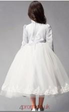 Princess High Neck 3/4 Length Sleeve White Satin Chiffon Tulle Tea-length Children's Prom Dress(AHC031)