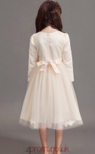 Princess Jewel Long Sleeve Light Champange Satin Chiffon Tulle Tea-length Children's Prom Dress(AHC035)