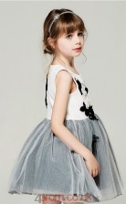 Princess Jewel Sleeveless Black and White Tulle Mini Children's Prom Dress(AHC041)
