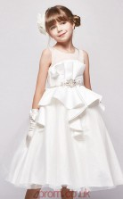 Princess Illusion Sleeveless White Satin Organza Tea-length Children's Prom Dress(AHC042)