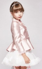 Princess V-neck 3/4 Length Sleeve Blushing Pink Stretch Satin Tulle Mini Children's Prom Dress(AHC044)