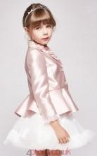 Princess V-neck 3/4 Length Sleeve Blushing Pink Stretch Satin Tulle Mini Children's Prom Dress(AHC044)