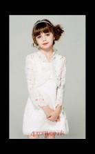 A-line Jewel 3/4 Length Sleeve Ivory Lace Knee-length Children's Prom Dress(AHC045)