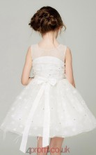 A-line Illusion Sleeveless Ivory Organza Mini Children's Prom Dress(AHC047)