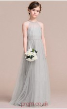 A-line Halter Sleeveless Gray Tulle Floor-length Children's Prom Dress(AHC052)
