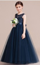 A-line Jewel Sleeveless Navy Blue Tulle Floor-length Children's Prom Dress(AHC053)