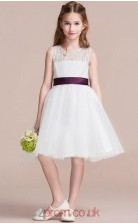 A-line Jewel Sleeveless White Lace Organza Knee-length Children's Prom Dress(AHC054)
