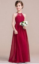 A-line Halter Sleeveless Burgundy Chiffon Floor-length Children's Prom Dress(AHC055)