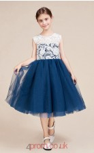 A-line Jewel Short Sleeve Dark Navy Lace Tulle Knee-length Children's Prom Dress(AHC056)