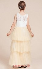 A-line Jewel Sleeveless Champange Lace Tulle Ankle-length Children's Prom Dress(AHC058)