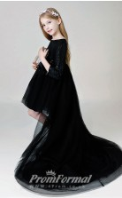 Long Sleeved Black Grils Pageant Dress with Sequined BCH015