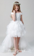 White Off the Shoulder Communion Dress High Low Pageant Gowns BCH022