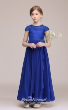 Cute Royal Blue Lace Chiffon Kids Girl Cap Sleeve Bridesmaids Wedding Party Dress BCH026