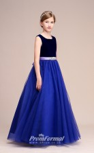 Royal Blue Tulle Flannel Kids Girl Birthday Party Dress with Lovely Heart Back BCH027