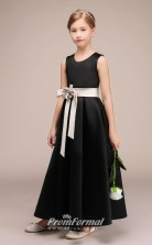 Black Satin Flower Girl Bridesmaid Dress with Silver Sashes BCH028