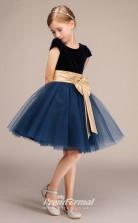 Black Tulle Flannel Kids Girl Flower Girl Dress with Short Sleeves BCH031