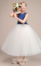 Lovely Royal Blue Tulle Satin Kids Girl Birthday Party Dress BCH032