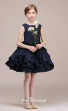 Navy Blue Satin Chiffon Kids Girl Short/Mini Birthday Party Dress BCH034