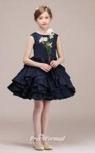 Navy Blue Satin Chiffon Kids Girl Short/Mini Birthday Party Dress BCH034