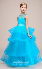 Cute Ocean Blue Tulle Kids Girl Birthday Party Dress with Heart Back BCH036