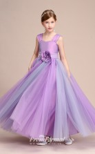 Purple Satin Tulle Kids Girl Birthday Party Dress BCH041
