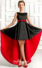 2020 New Black Satin Kids Girl High Low Birthday Party Pageant Dress BCH045