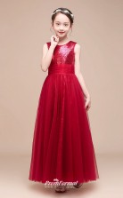 Affordable Burgundy Jewel Junior Bridesmaid Dress Floor-length Pageant Dress BCH047