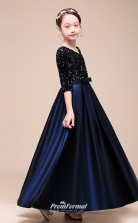 Affordable Navy Blue Jewel Junior Bridesmaid Dress Floor-length Pageant Dress With Sashes BCH050