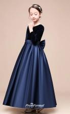 Affordable Navy Blue Jewel Junior Bridesmaid Dress Ankle-length Pageant Dress With Bows BCH051