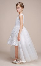 Affordable White Jewel Junior Bridesmaid Dress High Low Pageant Dress With Lace Details BCH054