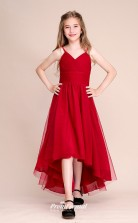 Affordable Burgundy Straps Junior Bridesmaid Dress High Low Pageant Dress BCH055