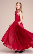 Affordable Burgundy Halter Junior Bridesmaid Dress Floor-length Pageant Dress With Handmade Flowers BCH058