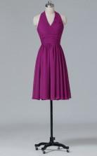 A-line Dark Fuchsia Chiffon , Lace Mini/Short Prom Dress(PRBD04-S423)