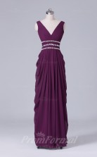 Sheath/Column Grape Chiffon Floor-length Prom Dress(PRBD04-S440)