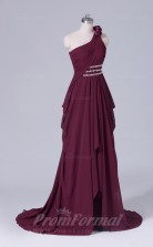 A-line Dark Burgundy Chiffon Floor-length Prom Dress(PRBD04-S442)