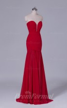 Trumpet/Mermaid Dark Red Chiffon Floor-length Prom Dress(PRBD04-S483)