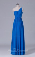 A-line Blue Velvet Chiffon Floor-length Prom Dress(PRBD04-S484)