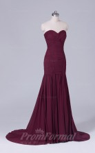 Trumpet/Mermaid Dark Burgundy Satin Chiffon Floor-length Prom Dress(PRBD04-S507)