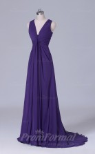 A-line Dark Purple Chiffon Floor-length Prom Dress(PRBD04-S512)