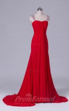 Trumpet/Mermaid Red Chiffon Floor-length Prom Dress(PRBD04-S513)
