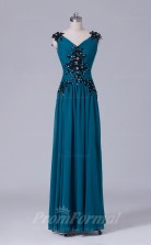 A-line Light Ink Blue Chiffon Floor-length Prom Dress(PRBD04-S519)
