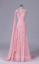 Trumpet/Mermaid Pink Chiffon Floor-length Prom Dress(PRBD04-S545)
