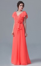BDUK10003 Tomato 128 Chiffon A Line V Neck Short/Cap Sleeve Long Bridesmaid Dresses